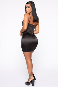 Sierra Satin Mini Dress - Black Angle 4