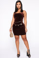 Looking For Romance Velvet Mini Dress - Brown