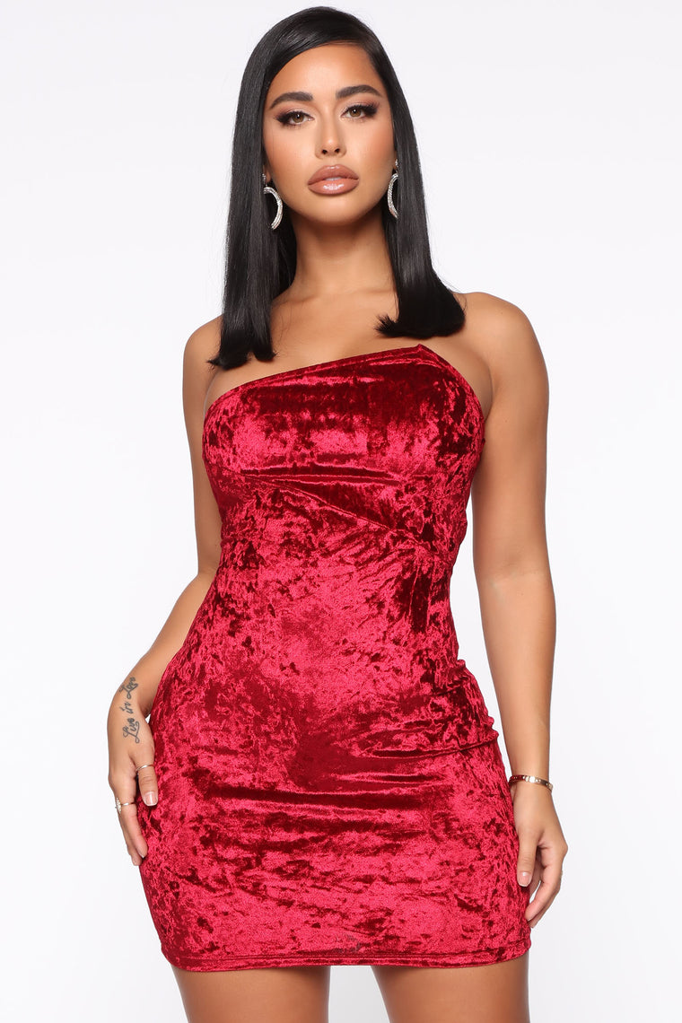 Out To Play Velvet Mini Dress   Burgundy by Fashion Nova