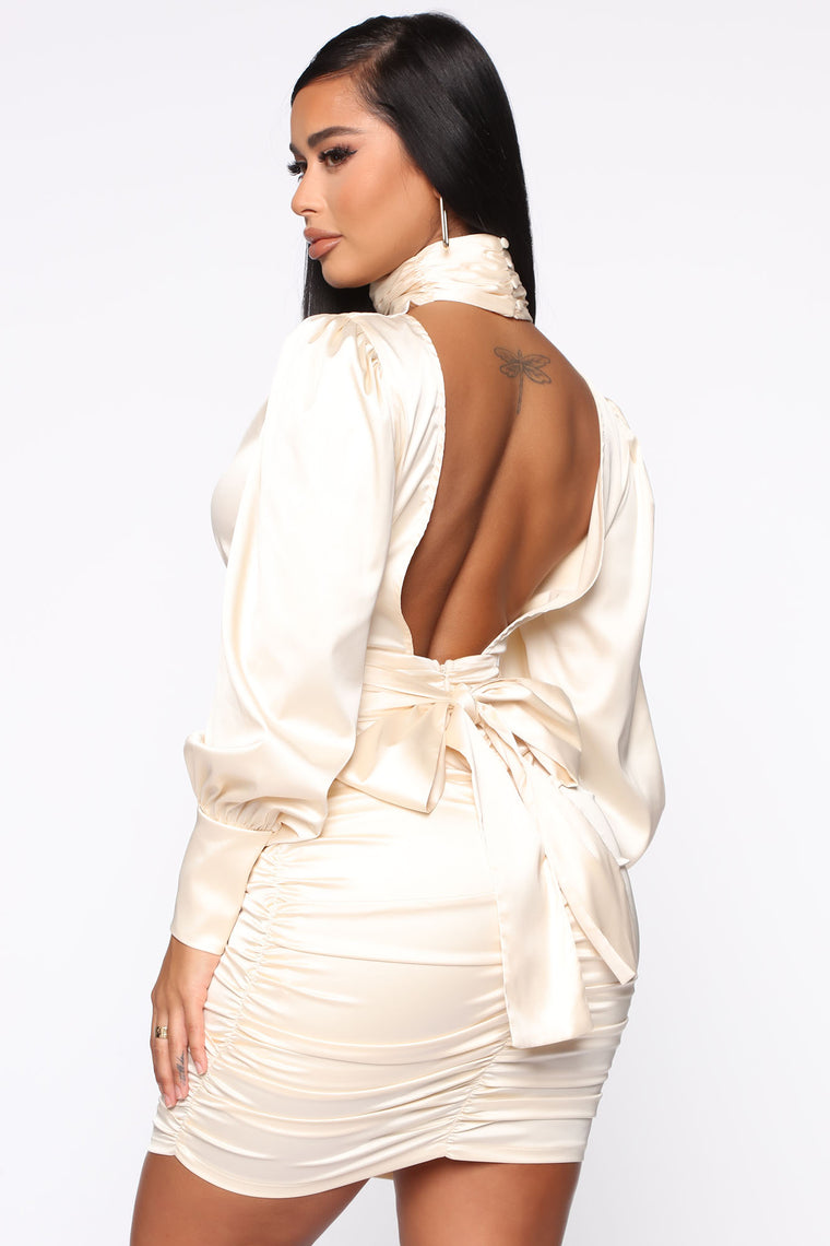 Sleek And Slim Satin Mini Dress - Ivory