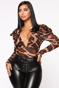 Sheer Heart Bodysuit - Brown/Combo Angle 1