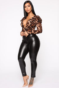 Sheer Heart Bodysuit - Brown/Combo Angle 4