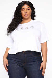 Blingin' Out Brat Crop Top - White Angle 1