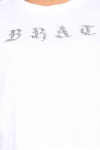 Blingin' Out Brat Crop Top - White Angle 6