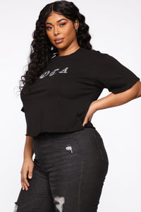 Loca With Bling Crystal Crop Top - Black