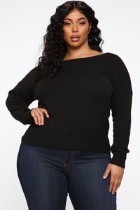 Dealin' With Me Convertible Sweater - Black