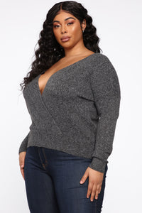 Dealin' With Me Convertible Sweater - Charcoal