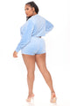 The Perfect Match Velour Short Set - Blue