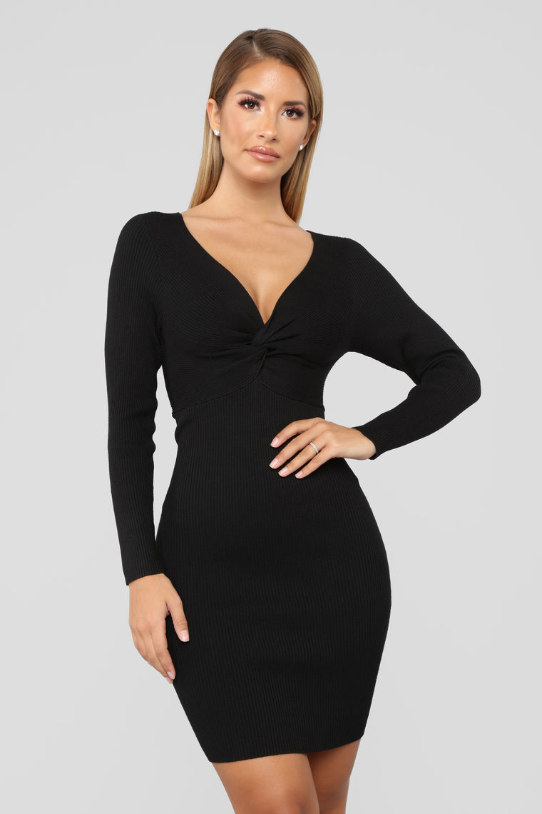 Do Knot Let Me Go Sweater Dress - Black