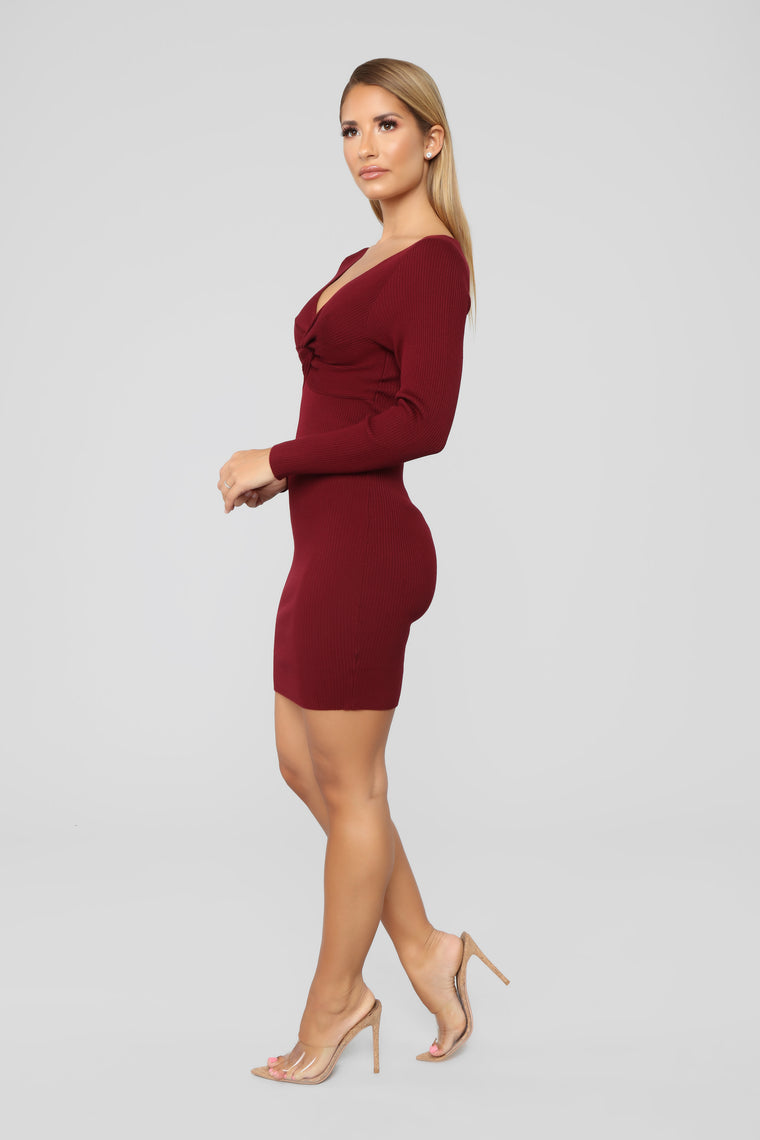 Do Knot Let Me Go Sweater Dress - Burgundy