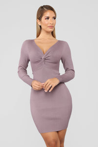 Do Knot Let Me Go Sweater Dress - Dusty Lavender