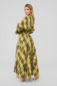 Better Than Expected Plaid Maxi Dress - Yellow/Black