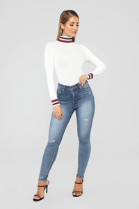 Pop Of Color Long Sleeve Top - White Angle 3