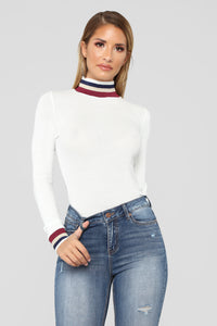Pop Of Color Long Sleeve Top - White Angle 2