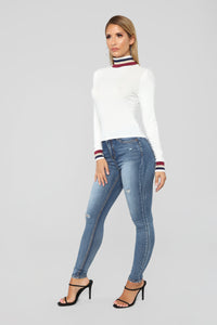Pop Of Color Long Sleeve Top - White Angle 5