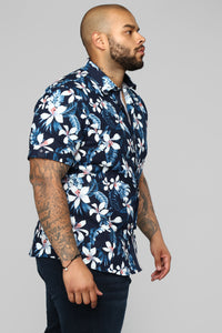McCoy Short Sleeve Woven Top - Navy