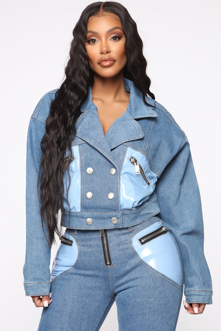 Pop Up Guess Who Two Tone Jacket - Blue/Combo