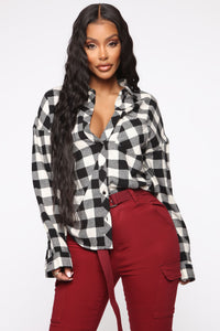 Boxed In Plaid Top - White