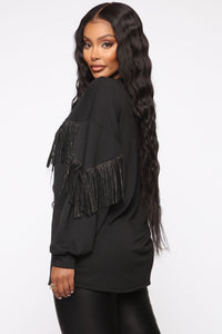 Shimmy It Off Fringe Top - Black Angle 3