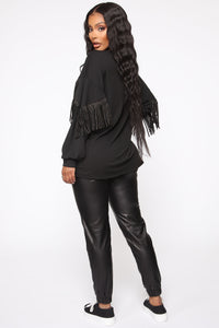 Shimmy It Off Fringe Top - Black Angle 4