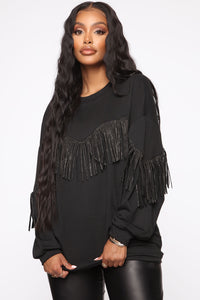 Shimmy It Off Fringe Top - Black Angle 1