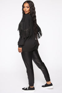 Shimmy It Off Fringe Top - Black Angle 2