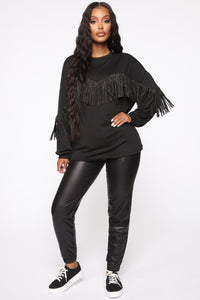 Shimmy It Off Fringe Top - Black Angle 5