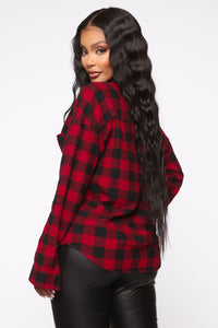 Boxed In Plaid Top - Red
