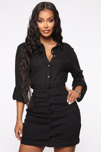 Not Changing Button Down Top - Black Angle 1