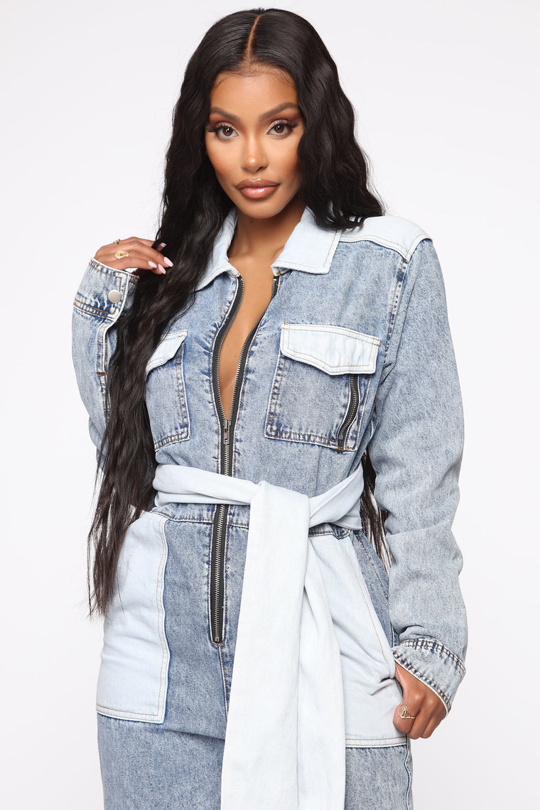 I Ain't One For Begging Denim Jumpsuit - Blue/Combo