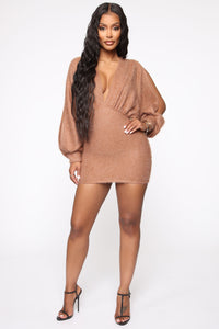 Best All Around Sweater Mini Dress - Mocha Angle 2
