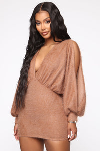 Best All Around Sweater Mini Dress - Mocha Angle 1