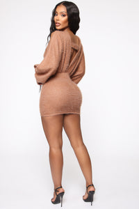 Best All Around Sweater Mini Dress - Mocha Angle 4