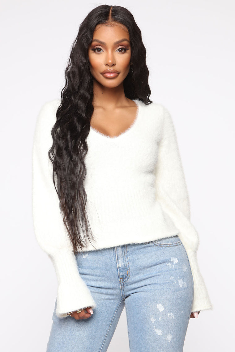 I Fuzz You Sweater - White