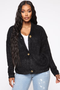 Living With You Fuzzy Cardigan - Black Angle 1