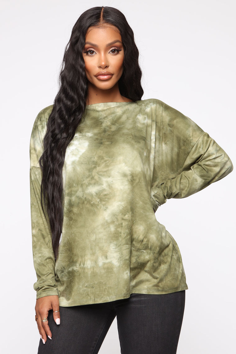 Simple Perfection Tie Dye Top   Olive/Combo by Fashion Nova