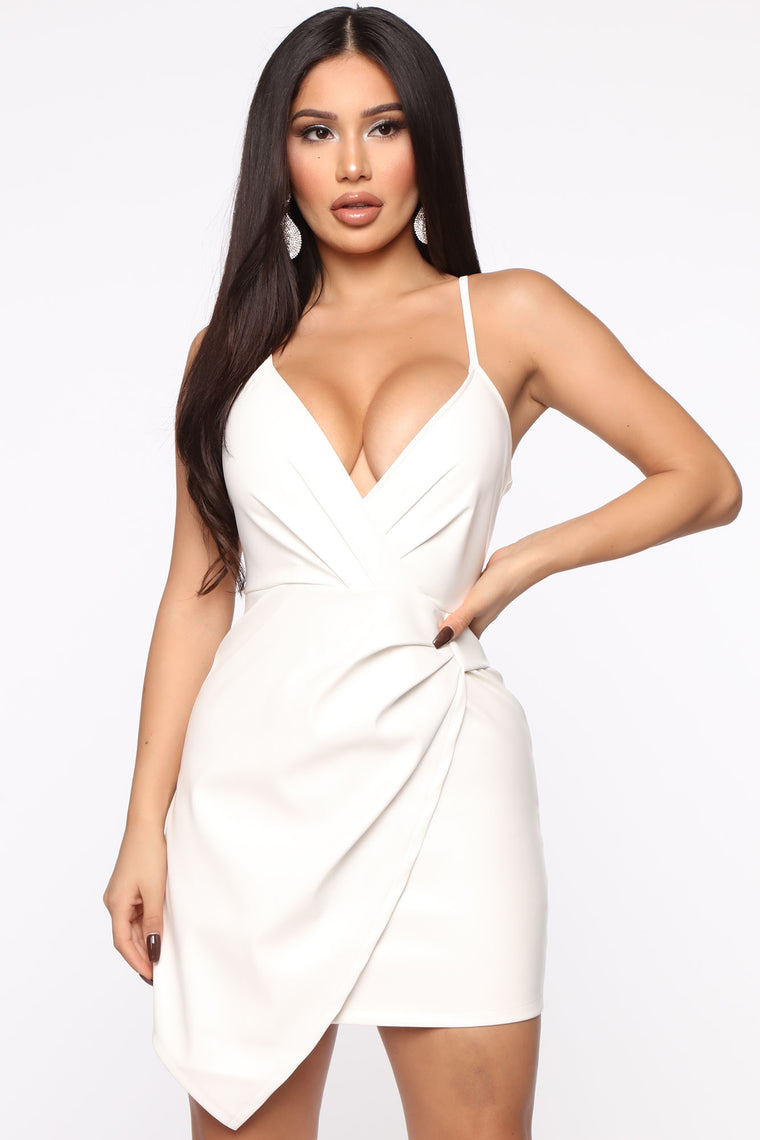 Let Into The Secret Pu Mini Dress   Off White by Fashion Nova