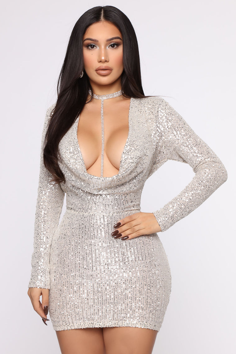 keep-shining-sequin-mini-dress---silver by fashion-nova