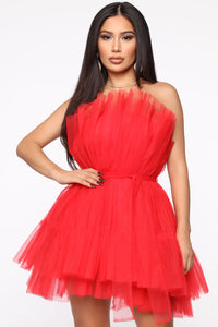 Exclusive Tulle Mini Dress - Red Angle 2