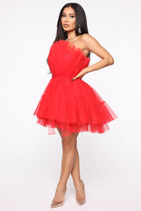 Exclusive Tulle Mini Dress - Red Angle 3