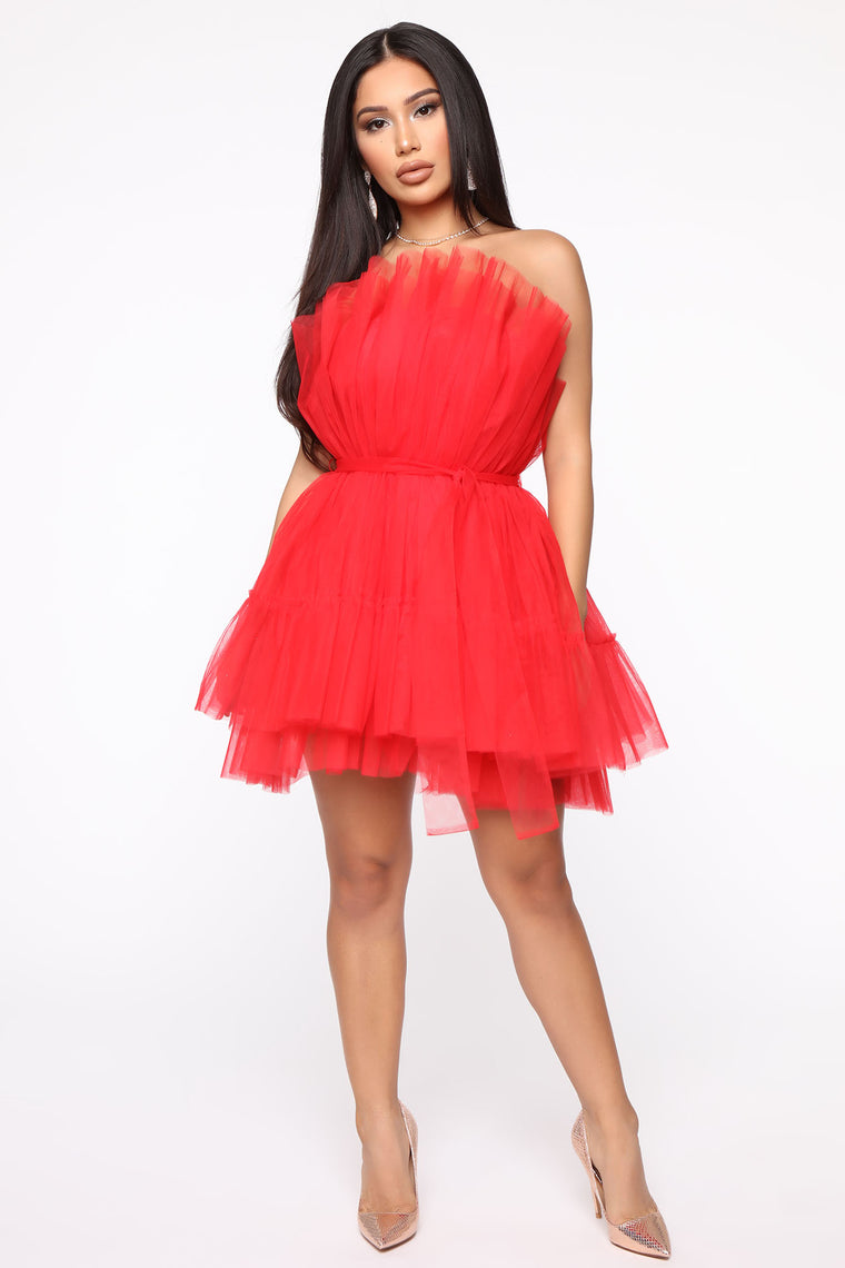 Exclusive Tulle Mini Dress - Red