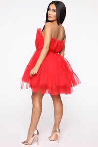 Exclusive Tulle Mini Dress - Red Angle 4