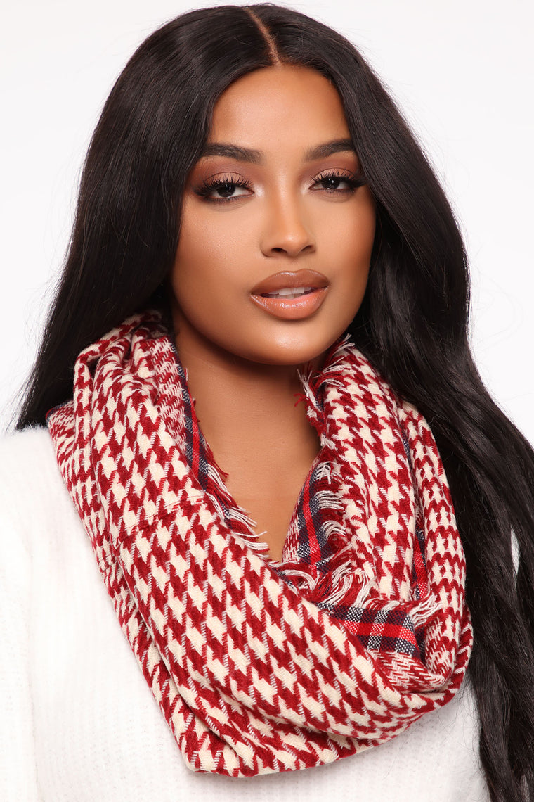 Printed All Over Infinity Scarf - Red