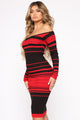 On Point Sweater Dress - Red/Black