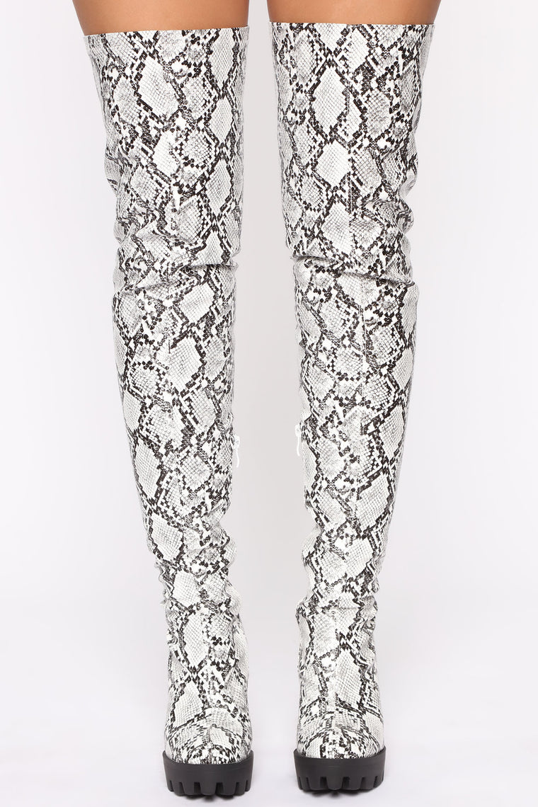 Black And White Thigh High Boots