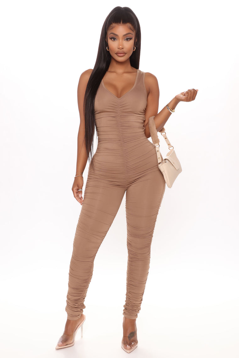 Ruched Rebel Sleeveless Jumpsuit - Nude