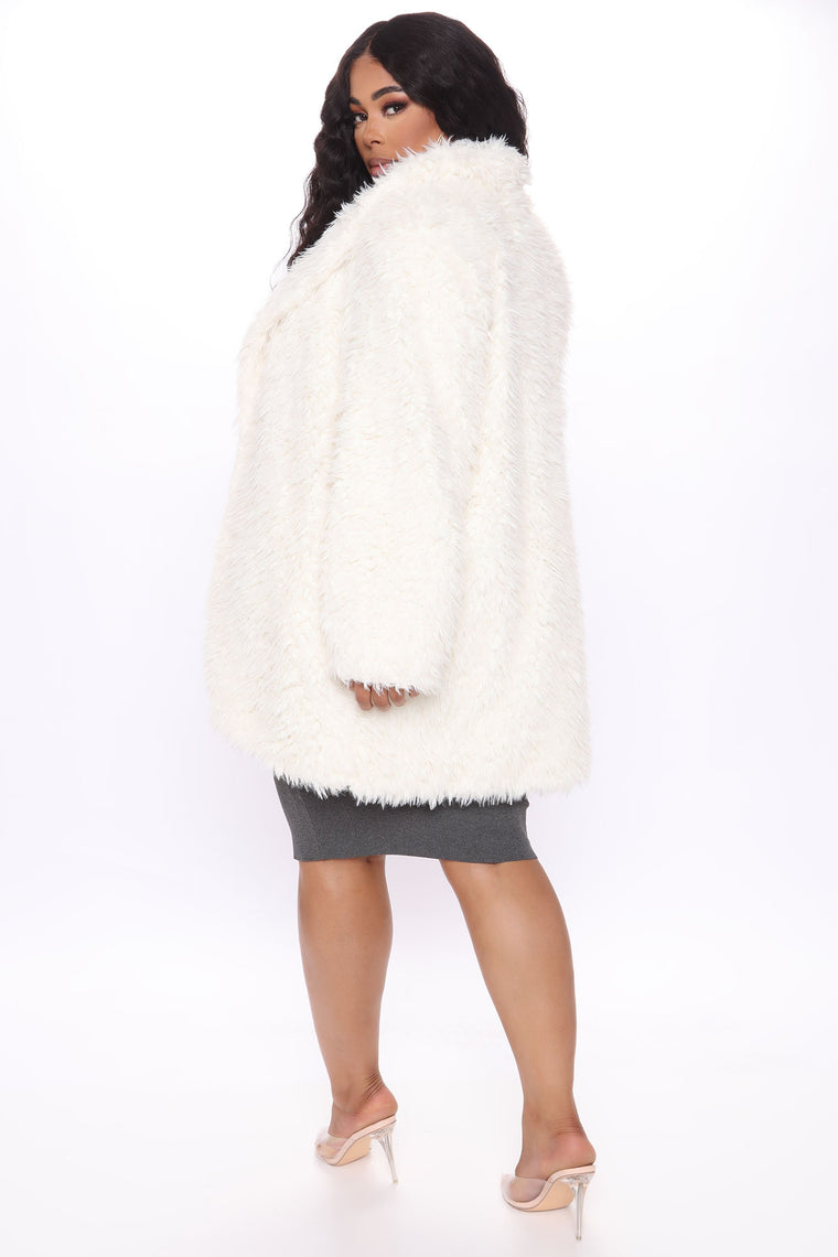 New Limits Faux Fur Coat - Ivory