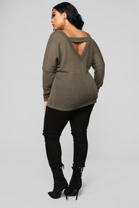 Strap My Back Sweater - Olive