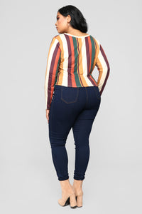 Giving Off Retro Vibes Long Sleeve Top - Multi