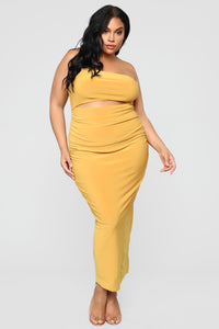 Open To It Midi Dress - Mustard Angle 6